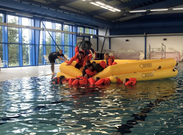 Military personnel train at the aquatic center, the Army's only indoor pool in Germany, following a $4.9M renovation in 2019. Located in Baumholder, the aquatic center offers not only water survival training for military personnel, but also a place for recreation year-round. Photo courtesy of DFMWR.