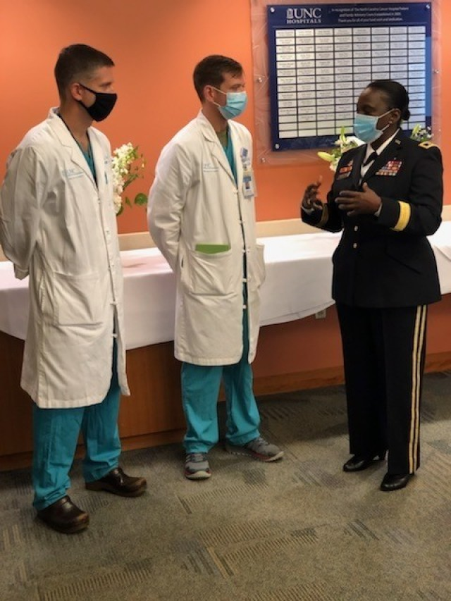 Maj. Gen. Telita Crosland, Deputy Army Surgeon General, Deputy Commanding General of Operations for the U.S. Army Medical Command and Chief of the Army Medical Corps, speaks with students at the military-civilian partnership cermony with University of North Carolina Health on Nov. 11, 2020.