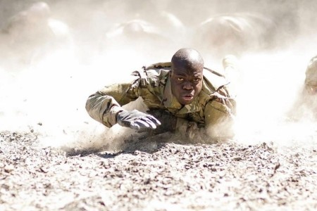 A Soldier from the 82nd Airborne Division crawls as part of training at Fort Bragg, N.C.