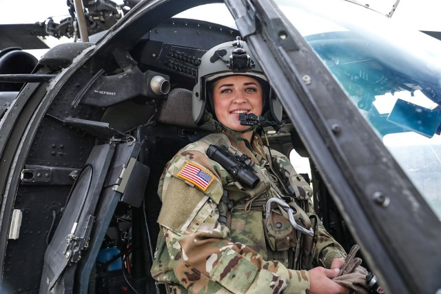 Warrant Officer Kristina Multani prepares to fly a UH-60 Black Hawk during the 28th rotation of the Kosovo Forces mission, Nov.6, 2020 at Camp Bondsteel Kosovo. Multani, who finished flight school in September as the only female warrant officer UH-60 pilot in the Delaware Army National Guard, eagerly embraced the opportunity to deploy to Kosovo.