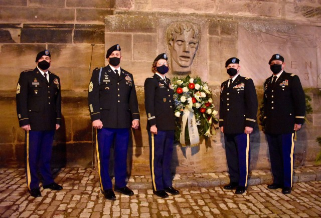 U.S. Army Garrison Ansbach and 12th Combat Aviation Brigade Soldiers joined the ranks of honor guards of German Bundeswehr, Reservists and veterans organizations for a wreath laying ceremony downtown Ansbach.