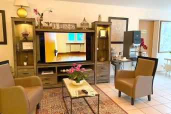 Housing kiosk display in lodging helps new arrivals get started sooner