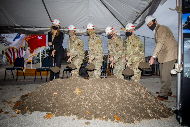 Sergeant Major of the Army Michael A. Grinston (3rd from left) participates in the groundbreaking ceremony for the Soldier and Squad Performance Research Institute, or S2PRINT, in which he was the keynote speaker, at the U.S. Army Natick Soldier Systems Center, or NSSC, on November 12, 2020.