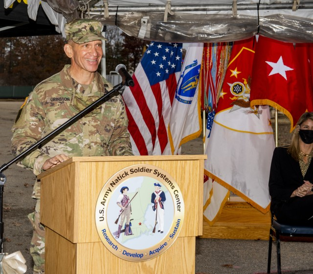 Sergeant Major of the Army Michael A. Grinston provides the keynote speech at a groundbreaking ceremony for the Soldier and Squad Performance Research Institute, or S2PRINT, held at the U.S. Army Natick Soldier Systems Center, or NSSC, on November 12, 2020.
