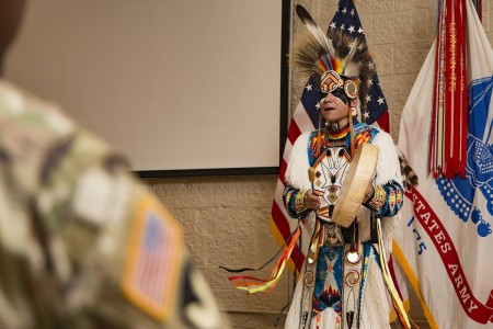 Ronald Preston from the San Carlos Apache Nation addresses the audience to a Native American Indian Heritage Month Observance at Rock Island Arsenal, Ill., Nov. 21, 2016.