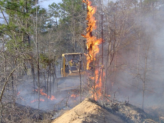 FORT BENNING, Ga. – In a March 2004 photo, a member of a Fort Benning prescribed burn crew uses a bulldozer to move a burning dead tree to where it can't spread fire outside the space within which the crew wants to burn. Each year from December through May Fort Benning conducts expertly controlled burns of deadwood and other debris on the forest floor, because it limits interruption of military training and helps Fort Benning's plant and animal life. Before such burns are scheduled, officials here carefully study weather data, including forecasts as to wind direction, and avoid burning at times or places that might lead to smoke carrying to local homes, hospitals, schools, businesses, roadways, or airports.  (U.S. Army photo courtesy of Directorate of Public Works, U.S. Army Garrison Fort Benning)