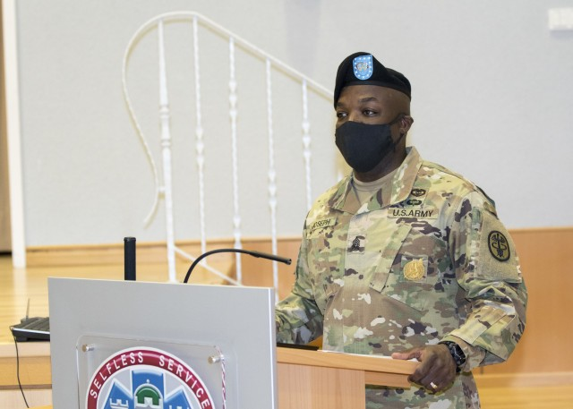 Landstuhl Regional Medical Center holds an Assumption of Responsibility Ceremony where Command Sgt. Maj. Fergus Joseph was welcomed as the hospital's command sergeant major, at LRMC, Nov. 10.