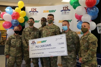 IET Soldier wins $25K vacation in AAFES' Subway Sip. Rip. Ultimate Trip sweepstakes