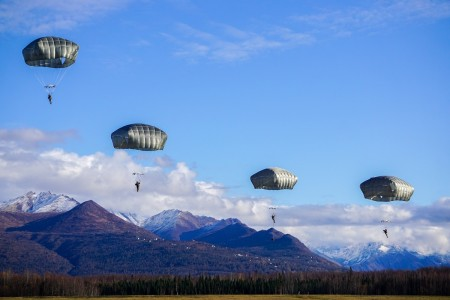 Paratroopers execute airborne operations from C-17 aircraft into the Malemute Drop Zone, Anchorage, Alaska, Oct. 13, 2020.
