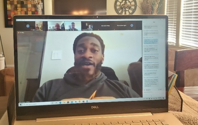 "Linebacker Alexander Johnson speaks to U.S. Army Space and Missile Defense Command Soldiers during a ""Salute to Service"" virtual meet and greet, Nov. 16. (U.S. Army photo)"