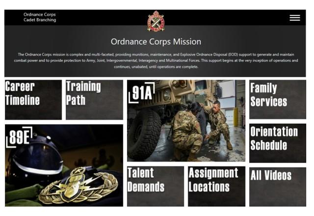 The Ordnance Corps cadet branching website at https://goordnance.army.mil/od-cadet-branching/index.html