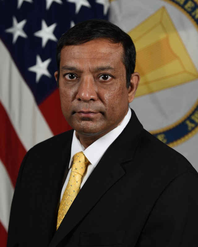 Dr. Raj Iyer, Chief Information Officer, G-6, poses for his official portrait in the Army portrait studio at the Pentagon in Arlington, Virginia, Nov. 17, 2020.  (U.S. Army photo by William Pratt/Released)