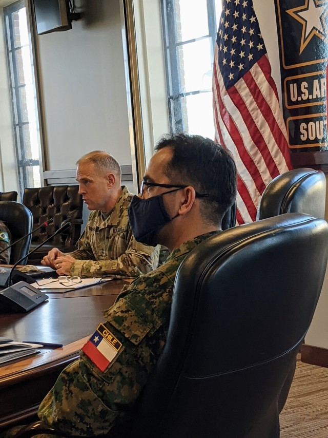 Maj. Gen. Daniel R. Walrath, left, U.S. Army South commanding general, addresses senior leaders of the Chilean Army at the conclusion of the 15th Annual U.S.-Chilean Army Staff Talks, held virtually from Nov. 16-18. Walrath signed a bilateral engagement plan that included more than 45 Agreed-to-Actions for the upcoming year to conduct various activities with each other's army. Army South, the Army Service Component Command for U.S. Southern Command, conducts these staff talks on behalf of the Chief of Staff of the Army.