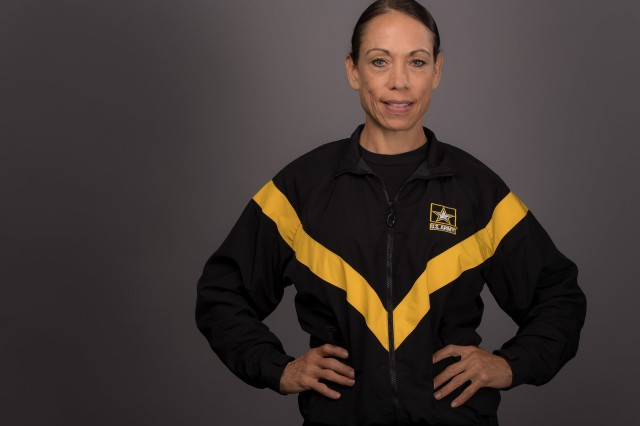 State Master Fitness Trainer, Staff Sgt. Kari Brafford poses for a photo.