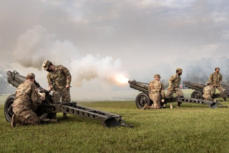 Soldiers perform an artillery salute during an assumption of responsibility ceremony at Marne Garden on Fort Stewart, Ga., Sept. 23, 2020.