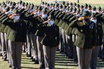 First basic training class graduates wearing Army Green Service Uniform