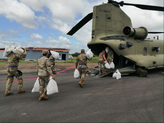 Members of Joint Task Force-Bravo partnered with SINAPROC to deliver urgent-live saving supplies of water and 10,000 pounds of food, Nov.7, 2020, to a community in Panama that had been isolated for 96 hours after the effects of Hurricane Eta. Our 1-228 Aviation Regiment has the capability to provide aviation support and conduct medical evacuation operations throughout Central America.