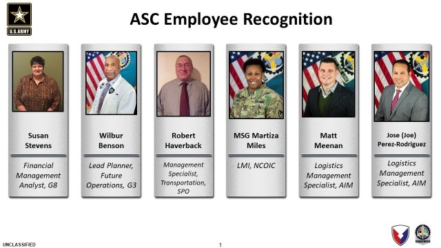 Shown are U.S. Army Sustainment Command headquarters personnel recognized for excellence during the quarterly update meeting held Nov. 19 at ASC on Rock Island Arsenal, Illinois. Gen. Ed Daly, commanding general, U.S. Army Materiel Command, spoke to and congratulated each person telephonically. (Image by ASC)