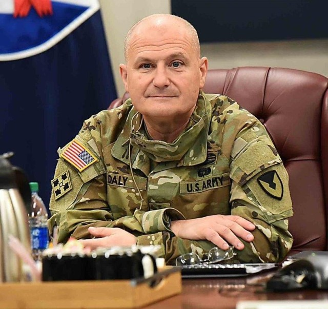 Gen. Ed Daly, commanding general, U.S. Army Materiel Command, listens during a quarterly update meeting Nov. 19 at the U.S. Army Sustainment Command headquarters at Rock Island Arsenal, Illinois.