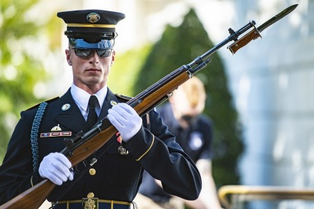 A sentinel from the 3d U.S. Infantry Regiment (The Old Guard) conducts the changing of the guard at the Tomb of the Unknown Soldier at Arlington National Cemetery, Arlington, Va., Oct. 1, 2020.