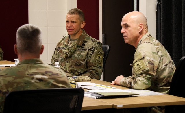 Sergeant Major of the Army Michael Grinston receives a brief about the Sergeant Major Assessment Program pilot at Fort Knox, Kentucky, November 18, 2020.  The SMAP was conducted similar to the Battalion Commander Assessment Program by gaining more relavent information about sergeants major before selecting them for battalion command sergeant major positions or other key billets.(U.S. Army Photo by Staff Sgt. Daniel Schroeder, Army Talent Management Task Force)