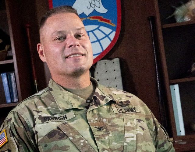 Col. Stephen Parrish serves as the commander of the U.S. Army Satellite Operations Brigade, U.S. Army Space and Missile Defense Command, at Peterson Air Force Base, Colorado. (U.S. Army photo by Staff Sgt. Dennis Deprisco/RELEASED)