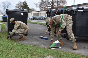 Wiesbaden Soldiers spruce up the area during Fall Clean Up