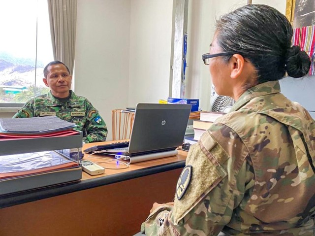 Task Force Oceania's Maj. Ruby Gee, liaison coordination assessment team officer-in-charge meets with Chaplain Rui Capelao, Falintil-Forças de Defesa de Timor-Leste to discuss future engagements between chaplains from partnering forces at F-FDTL headquarters in Dili, Oct. 27. Task Force Oceania helps coordinate linked engagements and exercises with allies and partners, improving the quality of those exchanges, building capacity, and achieving interoperability. Task Force Oceania provides a forward U.S. presence that deepens the relationship with our allies and partners in Oceania.