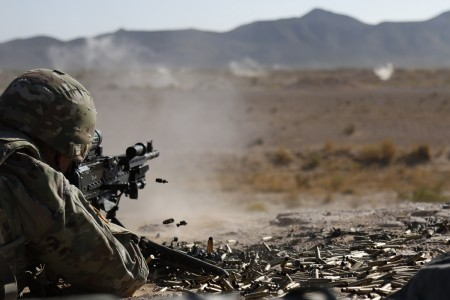 A Soldier fires an M240B at the Camp McGregor Range, N.M. on Sept. 25, 2020.