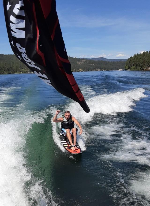 Patrick Edlin participates in a 2020 Wake for Warriors event at Long Lake at Nine Mile Falls near Spokane, Wash.
