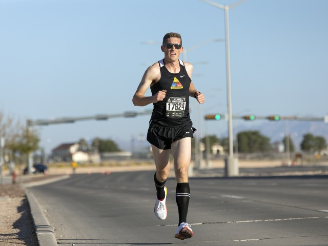 Maj. Branden Hestermann runs the final lengths of the 36th annual Army Ten-Miler, a virtual race this year run with help from Army FMWR, at Fort Bliss, Texas, Oct. 11, 2020. All proceeds from the ATM benefit Army FMWR programs.