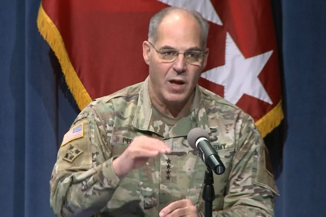 Army Gen. Gustave F. Perna, chief operations officer for Operation Warp Speed, speaks at a briefing on Operation Warp Speed in Washington, D.C., Nov. 24, 2020.