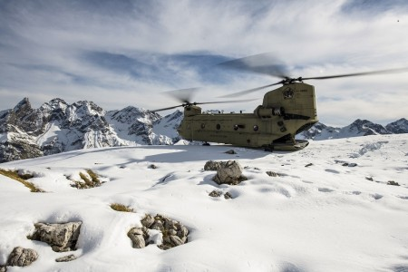 An Army CH-47F Chinook sits atop a mountain in the Alps in Germany, Oct. 21, 2020.