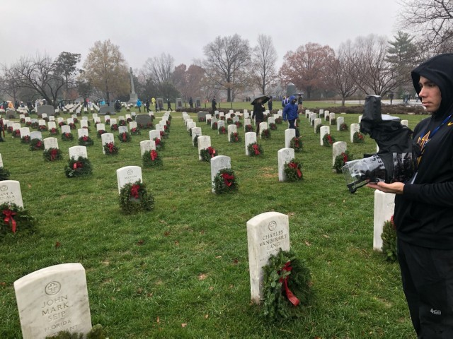 """Neal Schrodetzki, a former member of The Old Guard, films at Arlington National Cemetery, Va., during production of the documentary series """"Honor Guard."""" The series premieres on Amazon Prime Video Dec. 25, 2020."""