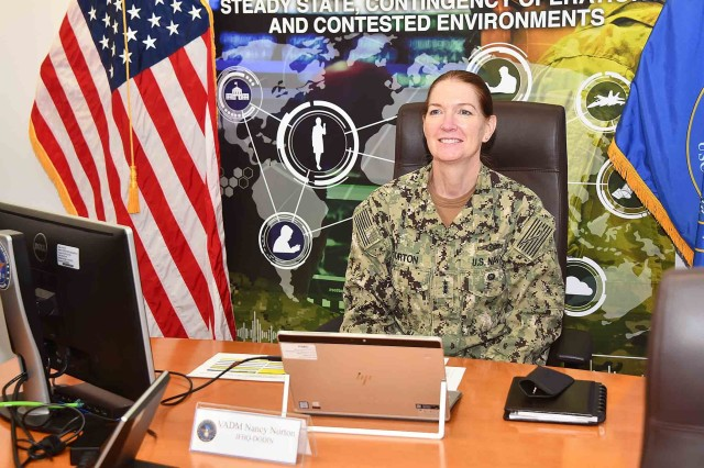 Navy Vice Admiral Nancy A. Norton, director of the Defense Information Systems Agency, speaks virtually to commanders, directors, deputies and chief information officers, Sept. 16, 2020.