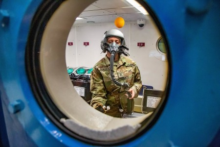 U.S. Army Aeromedical Research Laboratory and U.S. Army School of Army Aviation Medicine conduct testing inside a man-rated altitude chamber to determine if they will operate correctly when exposed to simulated altitudes, Oct. 20, 2020, at Fort Rucker, Ala.