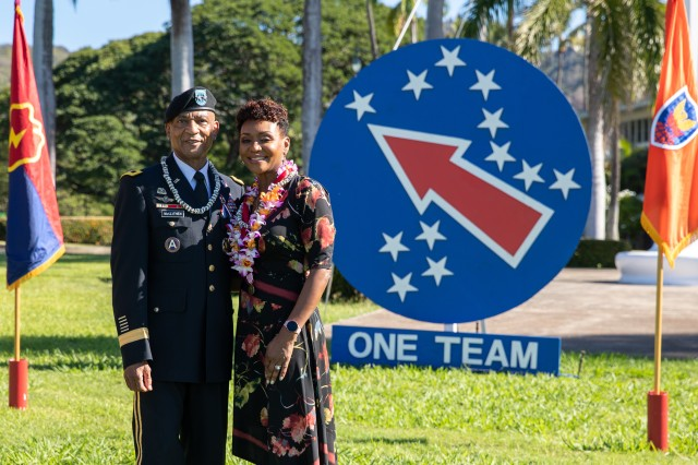 Maj. Gen. Timothy M. McKeithen, deputy commanding general-Army National Guard and his wife, Simone, pose for a photo during McKeithen's retirement ceremony Dec. 1 held at Historic Palm Circle, Fort Shafter, Hawaii.  McKeithen served over 34 years of service in the U.S. Army.  (U.S. Army photo by Sgt. 1st Class Monik Phan)
