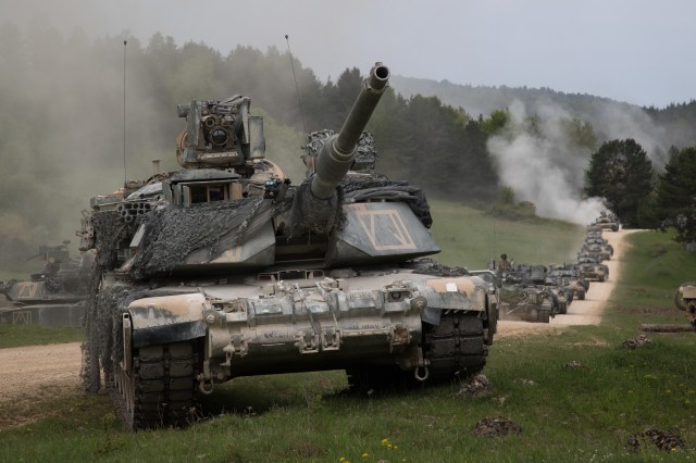 U.S. Army M1 Abrams tanks assigned to Alpha Company, 1st Battalion, 63rd Armor Regiment, 2nd Armored Brigade Combat Team, 1st Infantry Division, Fort Riley, Kan., perform a strategic convoy maneuver during Combined Resolve X at the Hohenfels Training Area, Germany, May 2, 2018. Exercise Combined Resolve is an U.S. Army Europe exercise series held twice a year in southeastern Germany and provided the Joint Modernization Command an opportunity to assess multiple concepts and capabilities.