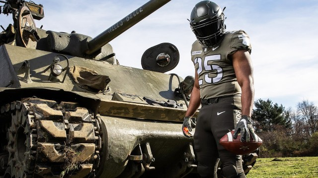 The Army West Point football team unveiled its 2020 Army-Navy Game uniform Sunday. The uniform tells the story of the Soldiers of the 25th Infantry Division during the Korean War. In honoring the past of the Tropic Lightning Division, the uniform reveals the story of valor, courage and sacrifice of the Soldiers who served that era as today's Soldiers don their patches, adopt their mottos and hold their deeds close to their hearts. For more details on the uniform, visit www.tropiclightning.football.