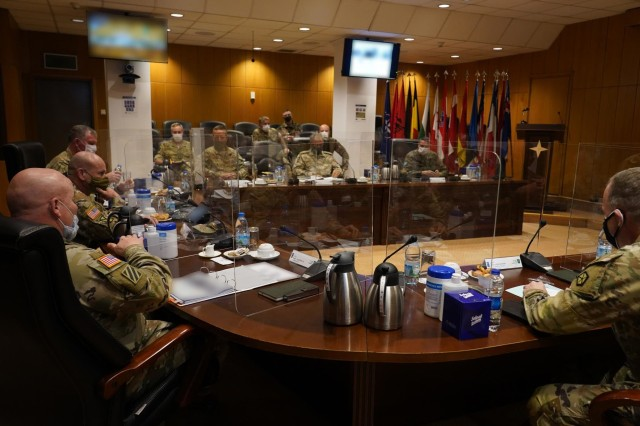 U.S. Army land forces commanders for Europe and Africa and NATO's Allied Land Command and select staff held discussions on land domain collaboration Dec. 3, 2020 at LANDCOM headquarters in Izmir, Turkey.  Commanders who attended the event, hosted by LANDCOM Commander, U.S. Army Lt. Gen. Roger L. Cloutier Jr., included U.S. Army General Chris Cavoli, Commander U.S. Army Europe and Africa; U.S. Army Commander John Kolasheski, Commander V Corps; and U.S. Army Major General Andrew Rohling, Commander Southern European Task Force, Africa.