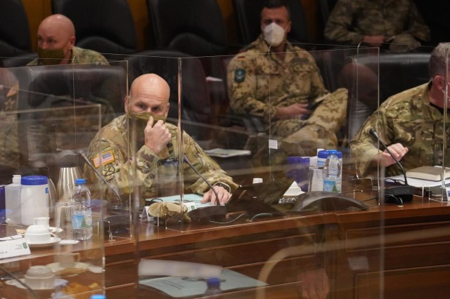 U.S. Army Gen. Chris Cavoli, commander of newly consolidated U.S. Army Europe and Africa, delivers opening remarks during a meeting of U.S. Army land forces commanders for Europe and Africa and Allied Land Command Thursday at LANDCOM headquarters in Izmir, Turkey.