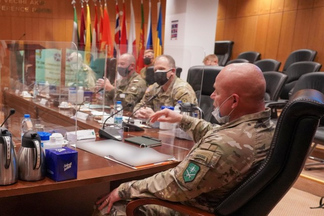 U.S. Army Lt. Gen. Roger Cloutier Jr., Commander Allied Land Command, briefs the LANDCOM mission during discussions on land domain collaboration held Thursday by U.S. Army land forces commanders for Europe and Africa, and LANDCOM and select staff at LANDCOM headquarters in Izmir, Turkey.