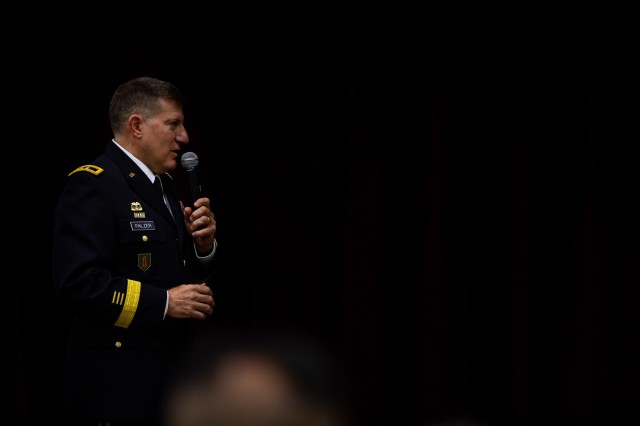 U.S. Army Reserve Maj. Gen. Mark W. Palzer, commanding general of the 99th Readiness Division, speaks to a crowd during the promotion ceremony of Brig. Gen. Kevin Meisler during a ceremony held at Joint Base San Antonio-Fort Sam Houston Dec. 5, 2020. Palzer served as the senior officer at the promotion ceremony and opened by praising Meisler's career leading up to his selection for brigadier general and command of the sustainment command. (U.S. Army photo by Capt. David Gasperson)