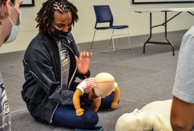 Cadet Ka'Leah Davis during Basic Life Support (BLS) training