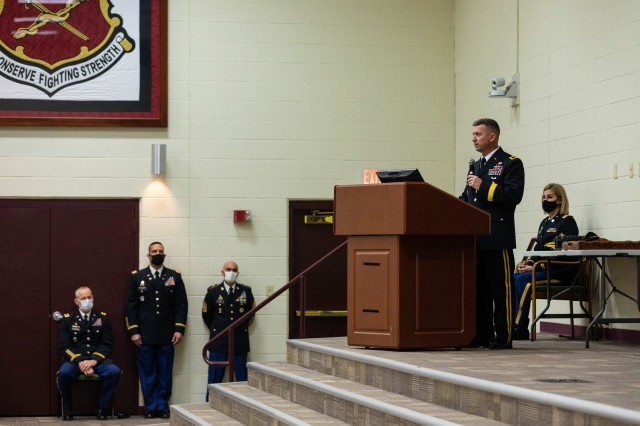 U.S. Army Reserve Brig. Gen. Kevin Meisler speaks to a socially distanced audience during his promotion ceremony at Joint Base San Antonio-Fort Sam Houston Dec. 5, 2020. With the promotion, Meisler will take command of the 4th Sustainment Command (Expeditionary), which directs more than 6,500 Army Reserve Soldiers throughout Texas, Oklahoma, Arkansas, and New Mexico. (U.S. Army photo by Capt. David Gasperson)