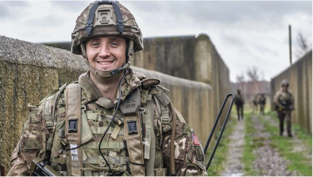 FORT BENNING, Ga. – U.S. Army 2nd Lt. Alexander Nappi, an Infantry officer, during training this year while attending Britain's Royal Military Academy Sandhurst. While in Officer Candidate School at Fort Benning in 2019, Nappi was elated when chosen to spend a year of rigorous training at Sandhurst. He started in January and finishes the year with the added distinction of having earned Sandhurst's International Award. It's given to the International Officer Cadet who achieves the best military, academic and practical scores in the class. Graduation is Dec. 11 with a ceremony known as the Sovereign's Parade. Nappi is slated to return to Fort Benning to attend the Infantry Basic Officer Leader Course (IBOLC).  (Photo courtesy of British Army)