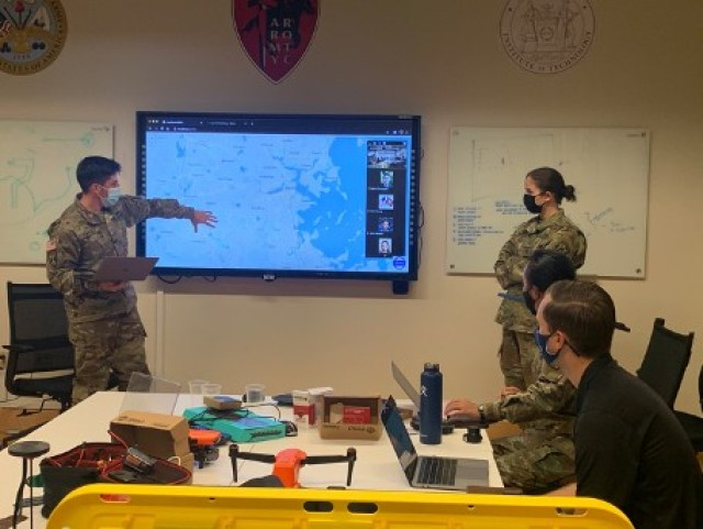 Cadets brief their prototype to the team during the Fall 2020 Hackathon.