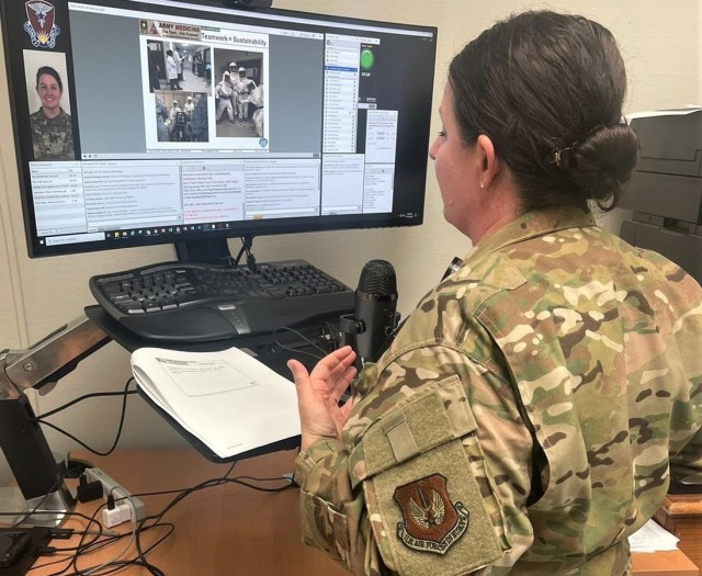 U.S. Air Force Maj. April Oliver, chief nurse in charge of the Landstuhl Regional Medical Center ICU, gives a presentation on intensive care nursing during the fall Regional Health Command Europe Medical Surgical virtual training conference held in late November.