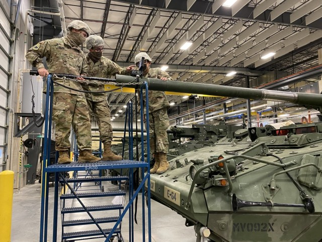 Ordnance students validate the knowledge and skills gained from the video borescope IMI by conducting a gun tube inspection on an M1128 Stryker Mobile Gun System.