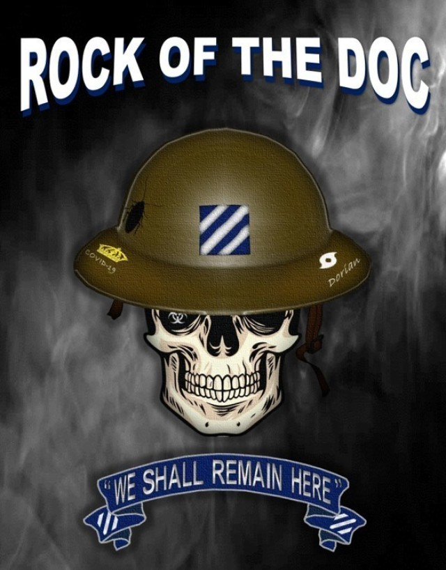 """Leadership can often be seen in the small things. The  """"Rock of the DOC,"""" created by Maj. Steven Orbon, 3rd Infantry Division, is an award given for support beyond the call of duty to the division operations center. Graphic created by Maj. Steven Orbon."""
